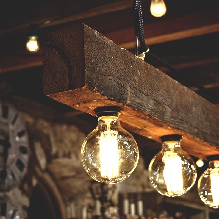 Magnificent Common Rustic Light Pendants Intended For Diy Wood Beam Chandelier Ideas Rustic Lamps Id Lights Diy (View 20 of 25)