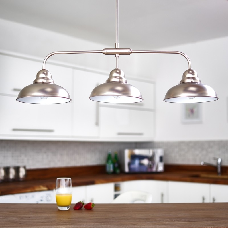Magnificent Deluxe 3 Light Pendants Regarding Dar Dynamo 3 Light Ceiling Pendant Antique Chrome Dream Home (Image 18 of 25)