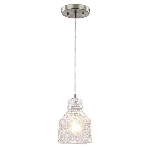 Magnificent Deluxe Crackle Glass Pendant Lights Inside 6309200 One Light Indoor Mini Pendant Brushed Nickel Finish With (Image 19 of 25)