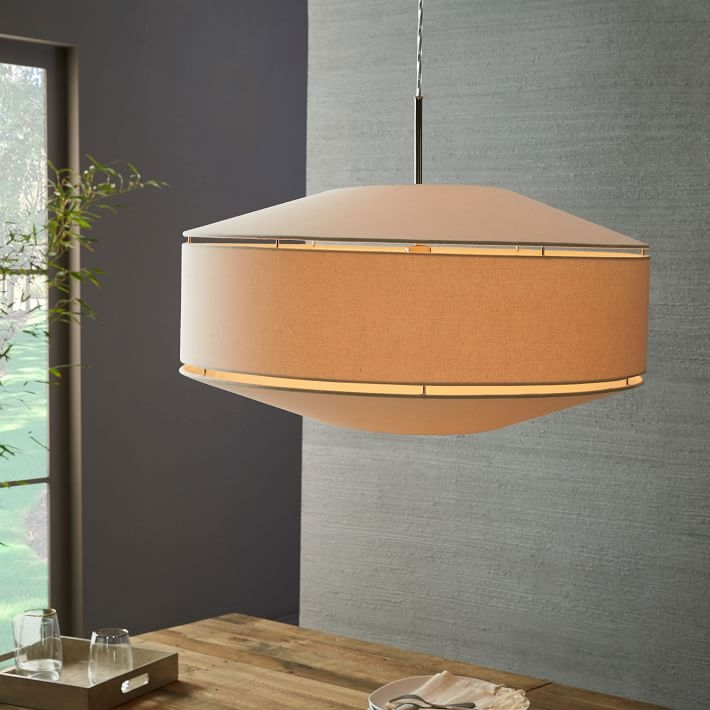 Magnificent Elite West Elm Drum Pendants Regarding Geo Fabric Shade Pendant Grand Drum Polished Nickelwhite (Image 17 of 25)