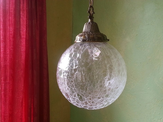 Magnificent Favorite Cracked Glass Pendant Lights Throughout Vintage Crackle Glass Pendant Lamp Extra Large Globe (Image 18 of 25)