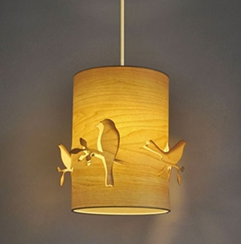 Magnificent Favorite Wood Veneer Pendant Lights In Beautiful Bird And Branch Cut Out Carved Modern Cylinder Wood (View 20 of 25)
