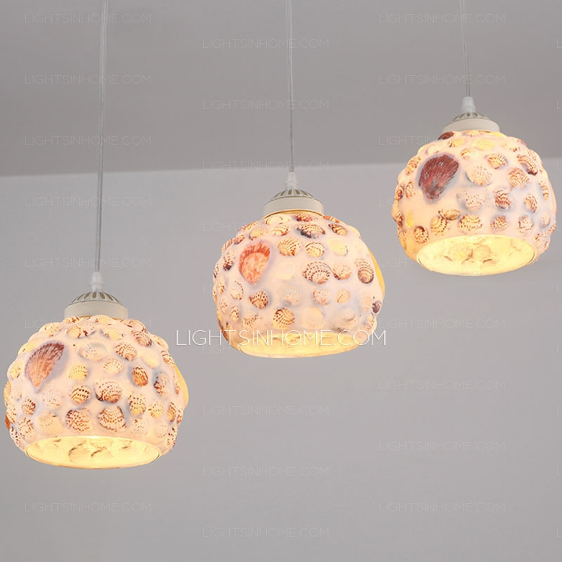 Magnificent High Quality Shell Light Shades Pendants In Decorative Seashell Shade 3 Light Pendant Lights For Kitchen (View 16 of 25)