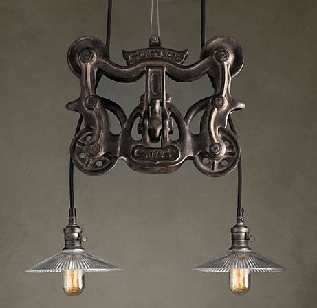 Magnificent New Double Pulley Pendant Lights With This Is 539 From Restoration Hardware Going To Show It To The (Image 15 of 25)