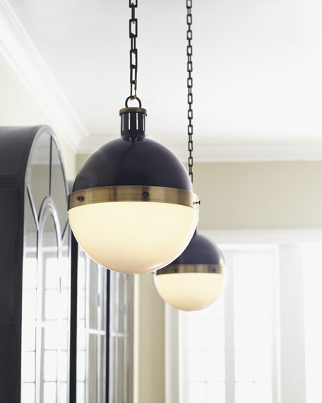 Magnificent Popular Globes For Pendant Lights Throughout Visual Comfort Hicks Bronze With Antiqued Brass Pendant Light (Image 19 of 25)