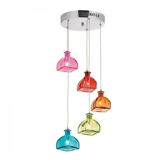 Magnificent Premium Multi Coloured Pendant Lights With Regard To Endon Sarandon Sarandon 5multi 5 Light Pendant Multicoloured (Image 18 of 25)
