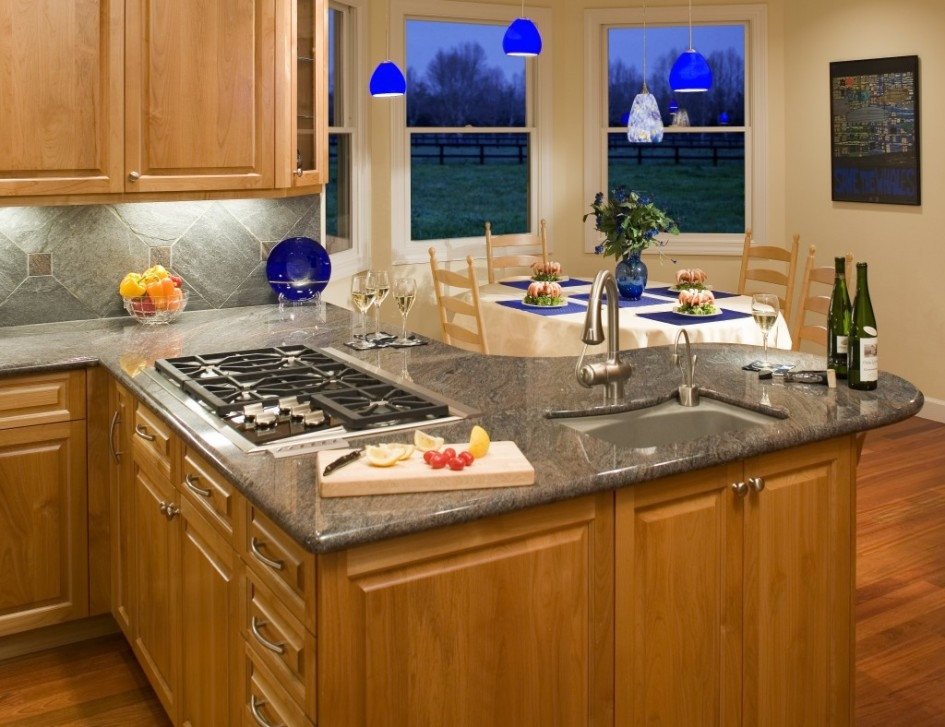 Magnificent Series Of Cobalt Blue Mini Pendant Lights Inside Gripping Kitchen Layouts With Island Sink And 5 Burner Gas Cooktop (Image 15 of 25)