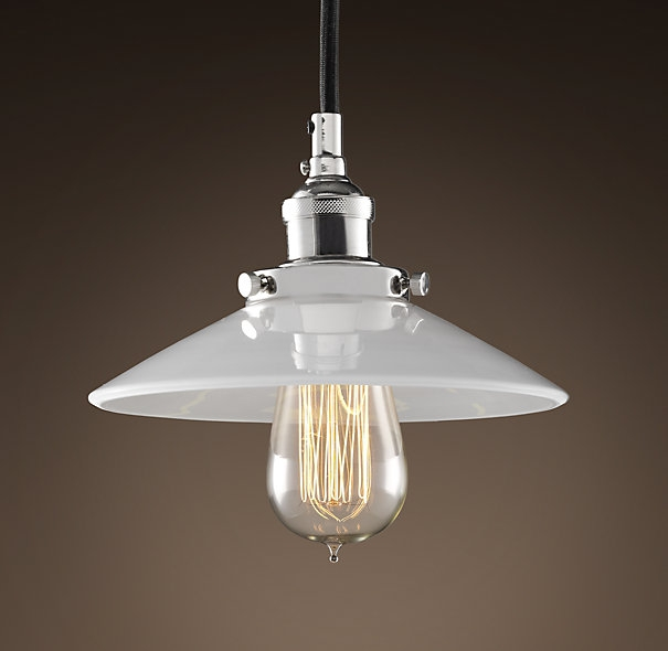 Magnificent Trendy Bare Bulb Filament Pendants Polished Nickel Within 20th C Factory Filament Milk Glass Single Pendant Polished (View 7 of 25)