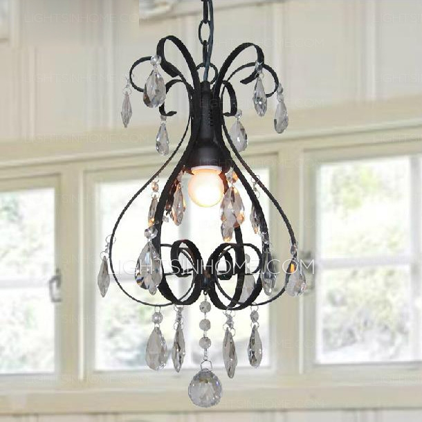 Magnificent Variety Of Black Pendant Light With Crystals Regarding Pastoral Mini Crystal Pendant Lights Black Wrought Iron (Image 16 of 25)
