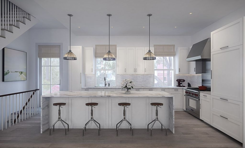 Magnificent Variety Of Clemson Pendant Lights In Contemporary Kitchen With Complex Marble Counters French Doors (Image 14 of 25)