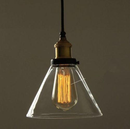 Magnificent Variety Of Glass Pendant Ceiling Lights Pertaining To Vintage Industrial Diy Copper Ceiling Lamp Light Funnel Glass (Image 17 of 25)