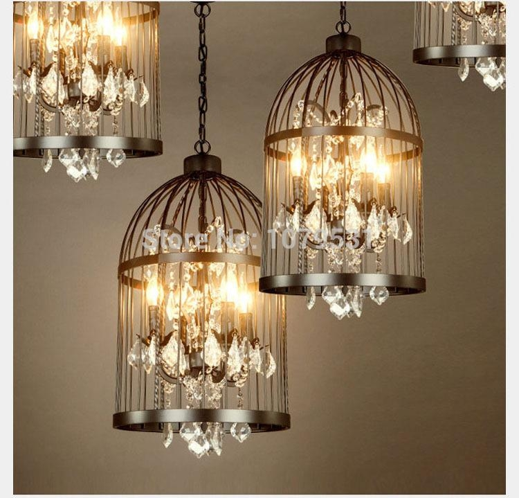 Magnificent Well Known Birdcage Pendant Lights Throughout 3545cm Nordic Birdcage Crystal Pendant Lights Iron Cage Home (Image 21 of 25)