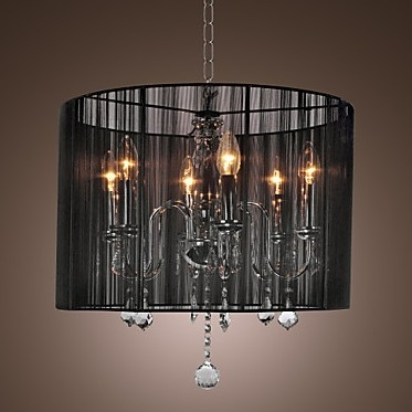 Magnificent Wellknown Black Pendant Light With Crystals Pertaining To Black Lamp Shade Modern Crystal Chandeliers Pendant Lights (Image 18 of 25)