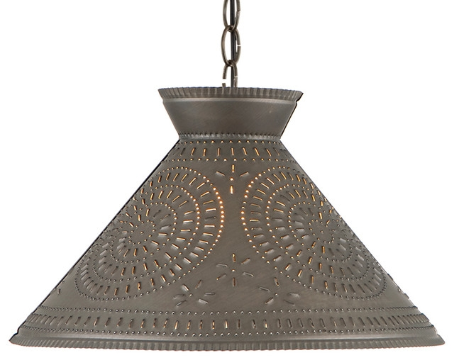 Magnificent Wellknown Punched Metal Pendant Lights Throughout Roosevelt Shade Light With Chisel Kettle Black Punched Tin (Image 22 of 25)