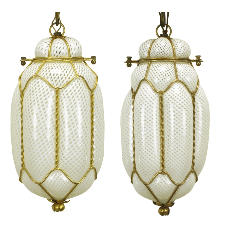 Magnificent Wellliked Murano Glass Lighting Pendants Within Pair White Murano Latticino Glass Gilt Metal Pendant Lights (Image 21 of 25)