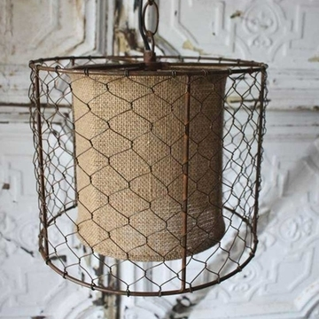 Magnificent Widely Used Chicken Wire Pendant Lights Throughout Light Lamp Rustic Chicken Wire Shade With Burlap Center Brown (Image 21 of 25)