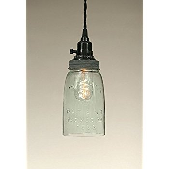 Magnificent Widely Used Mason Jar Pendant Lamps Inside Quart Open Bottom Mason Jar Pendant Lamp Rustic Brown Ceiling (View 15 of 25)