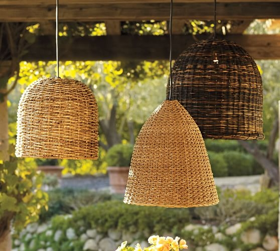 Magnificent Widely Used Outdoor Pendant Lights In Grove Wicker Indooroutdoor Pendant Lights Set Of 3 Pottery Barn (Image 17 of 25)