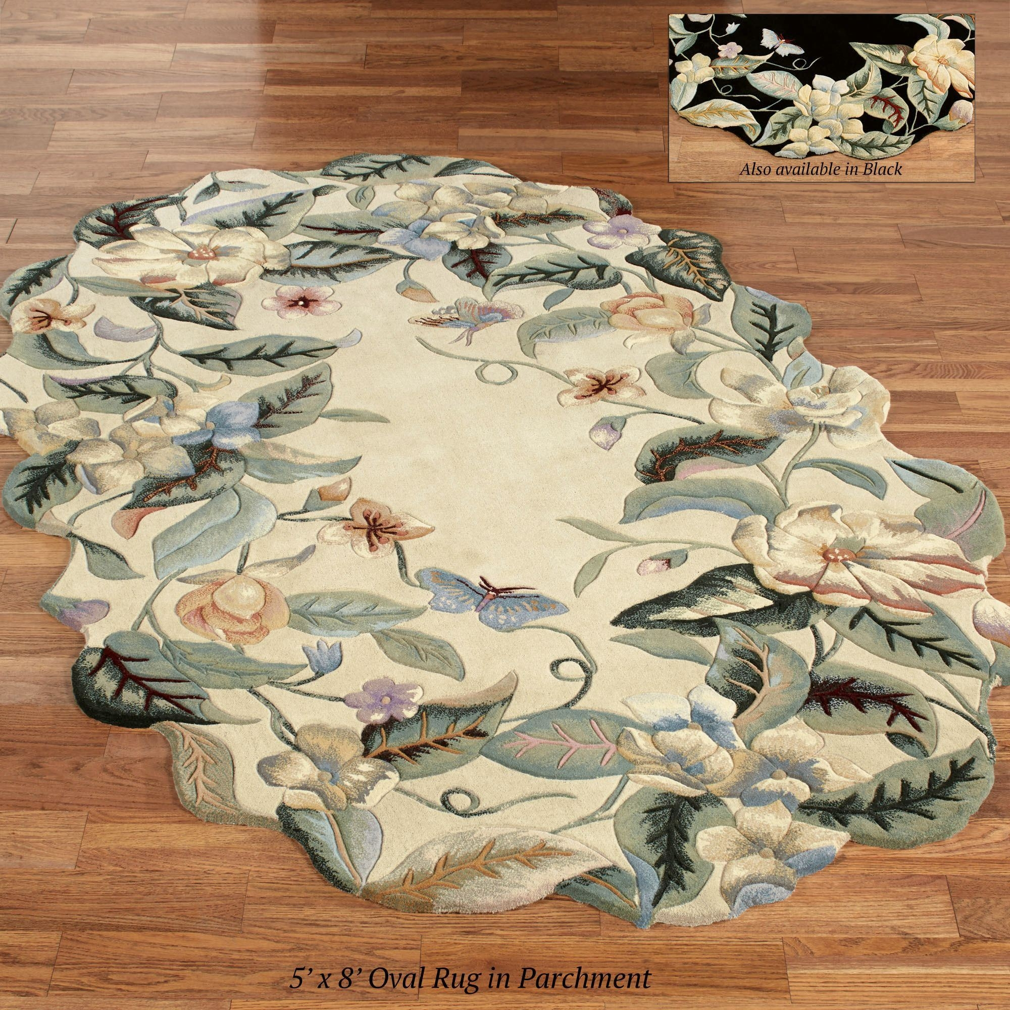 Magnolia Butterfly Sculpted Oval Rugs With Oval Rugs (Image 5 of 15)