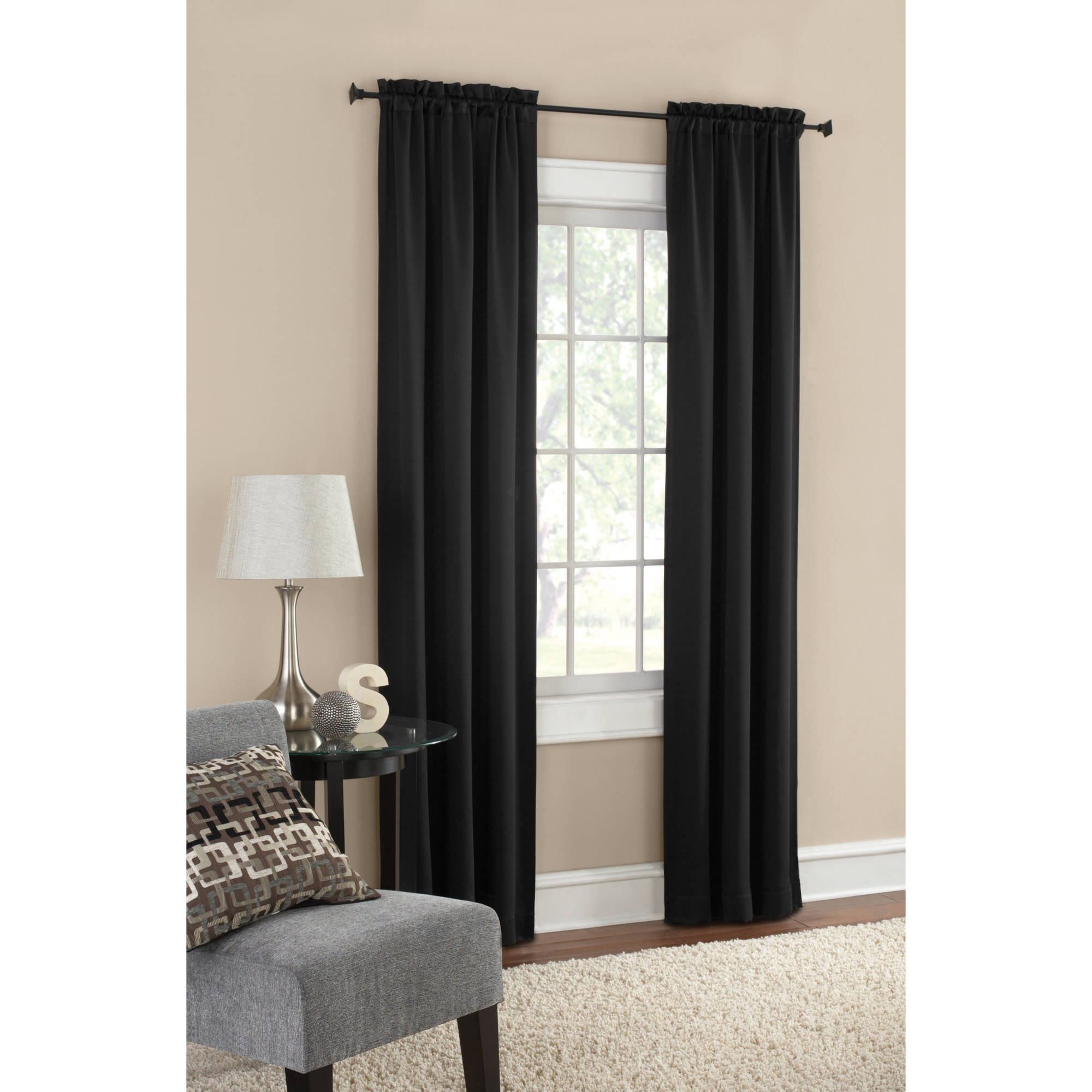 Mainstays Curtains Window Treatments Walmart Pertaining To Dark Grey Sheer Curtains (Image 21 of 25)