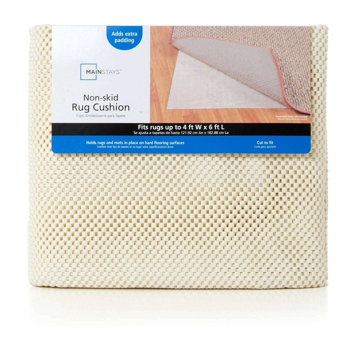 Mainstays Non Skid Rug Pad Creme Walmart With Regard To Non Slip Rugs (Image 5 of 15)