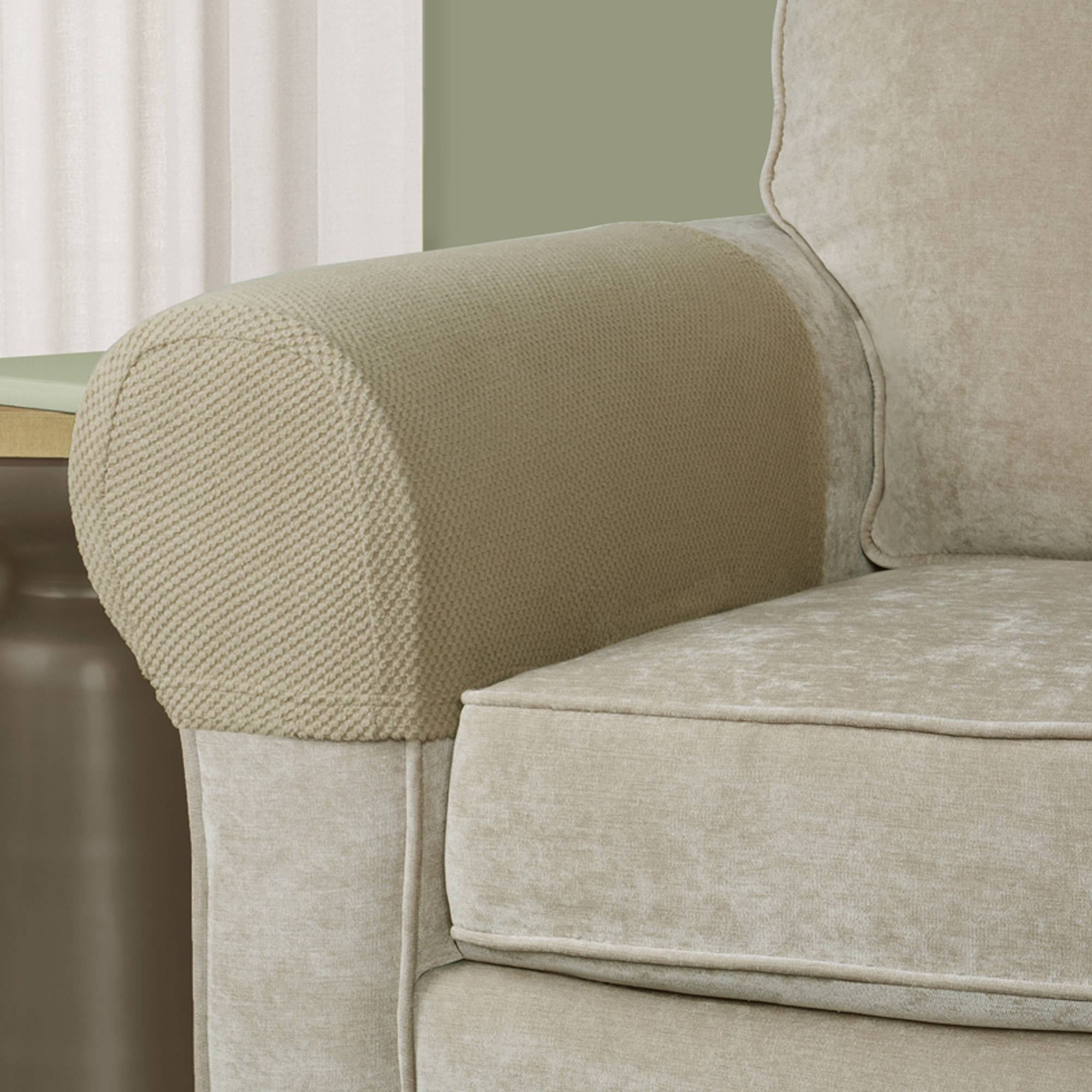 Mainstays Pixel Stretch Fabric Furniture Armrest Covers Walmart With Regard To Sofa And Chair Slipcovers (Image 6 of 15)
