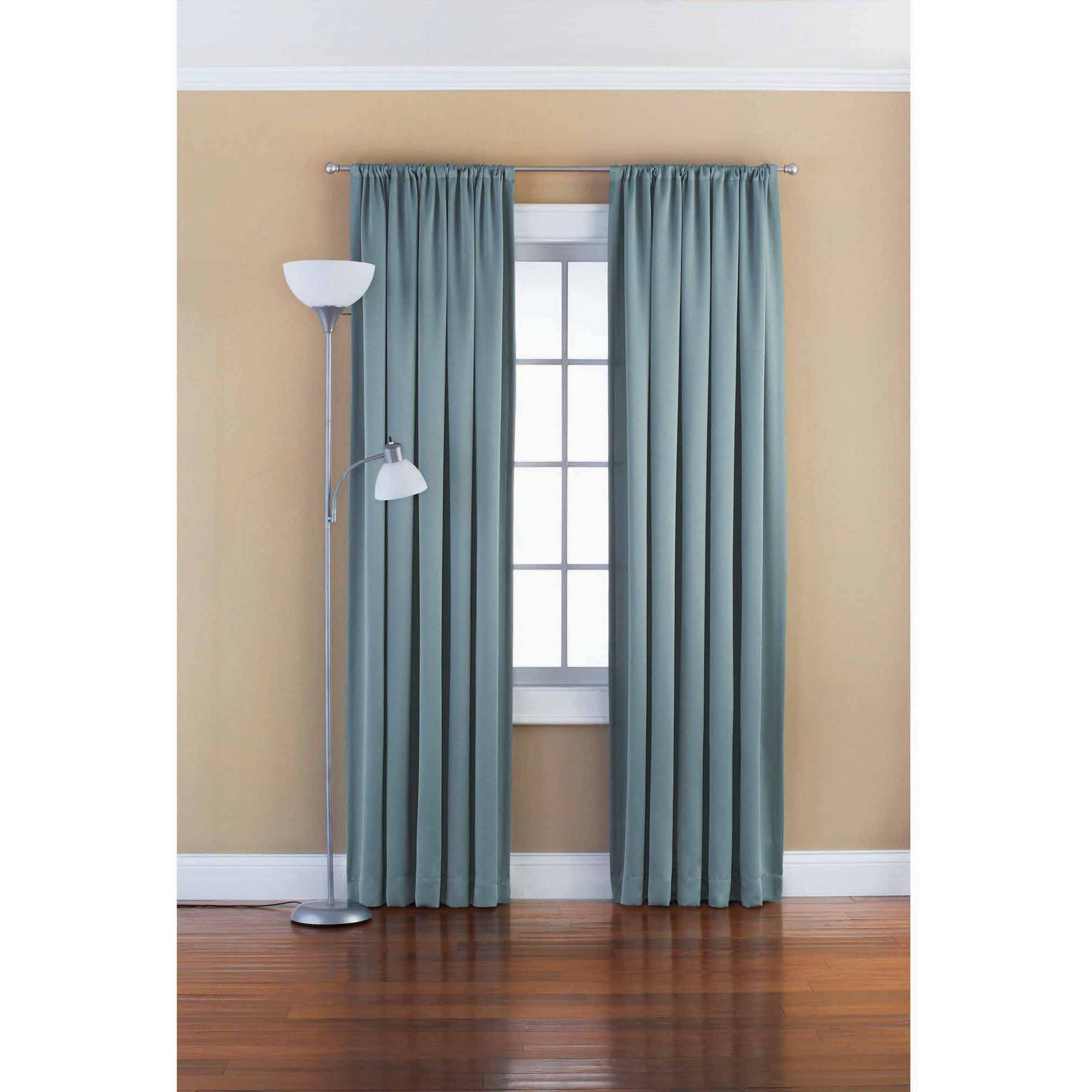 Mainstays Solid Room Darkening Curtain Panel Walmart Regarding 54 Inch Long Curtain Panels (View 20 of 25)
