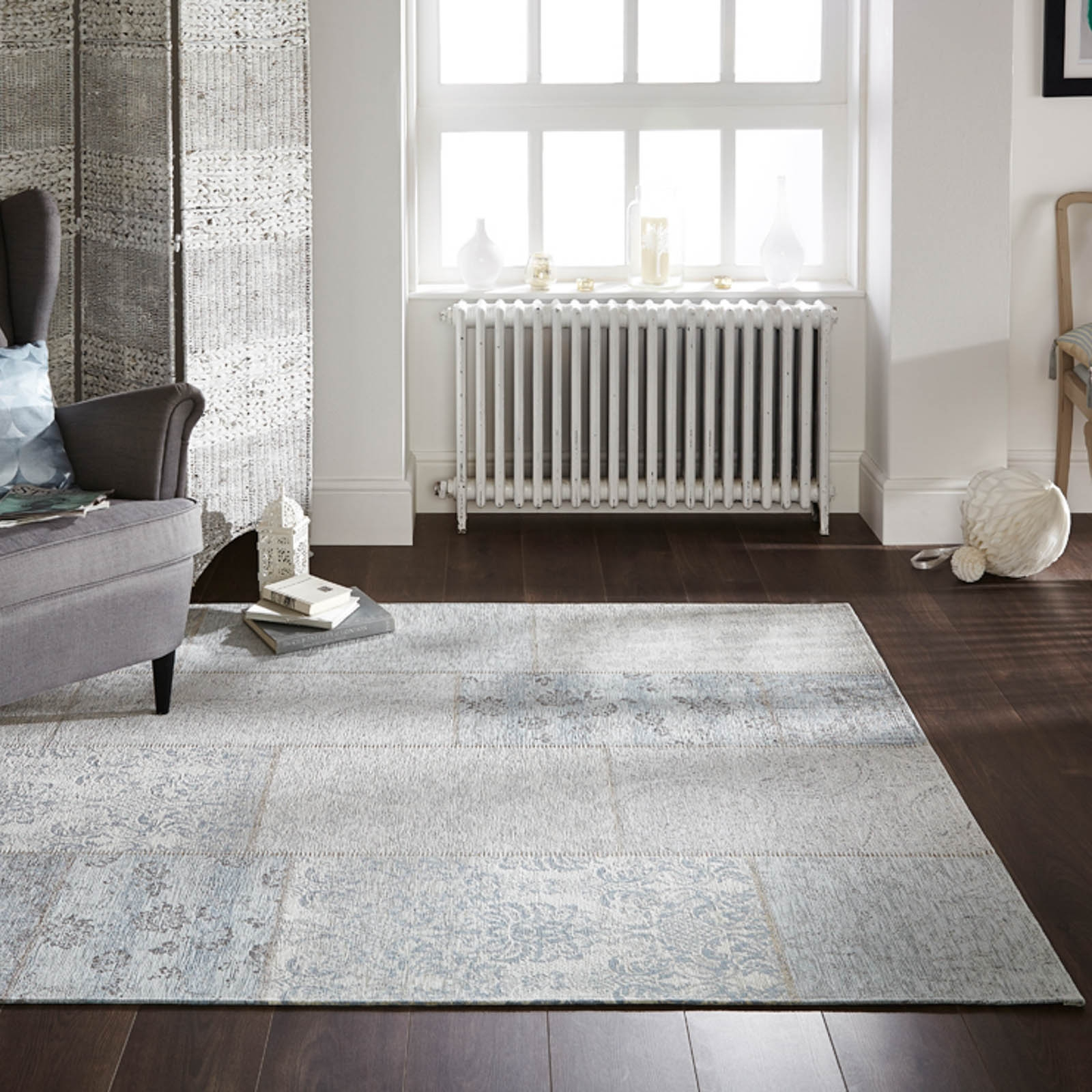Manhattan Patchwork Chenille Rugs In Duck Egg Free Uk Delivery For Duck Egg Rugs (Image 8 of 15)