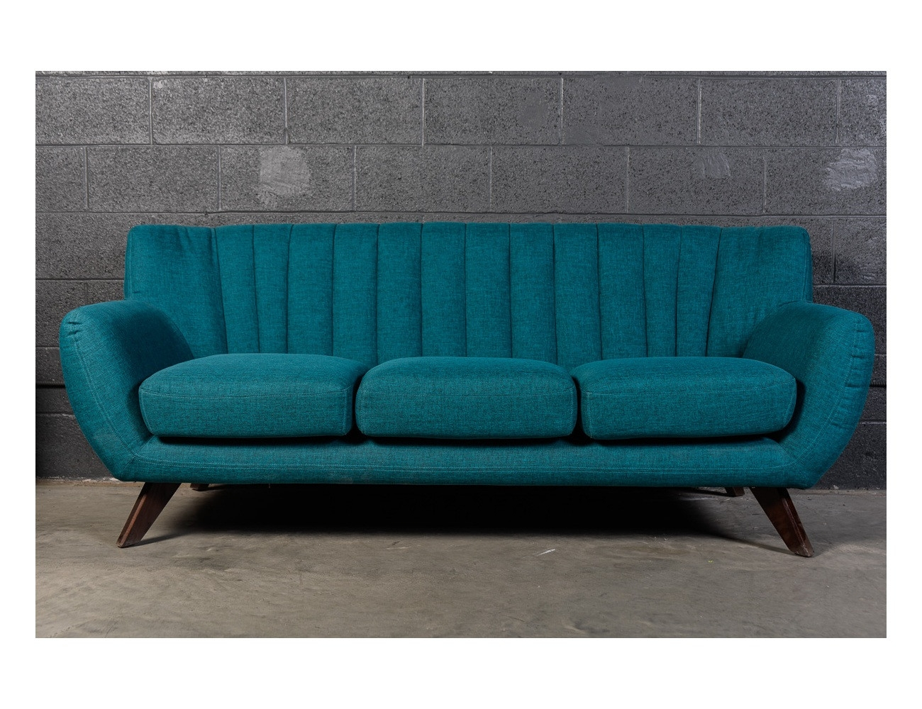 Marcus Blue Mid Century Sofa For A Contemporary Home Wazo Intended For Blue Sofa Chairs (Image 11 of 15)