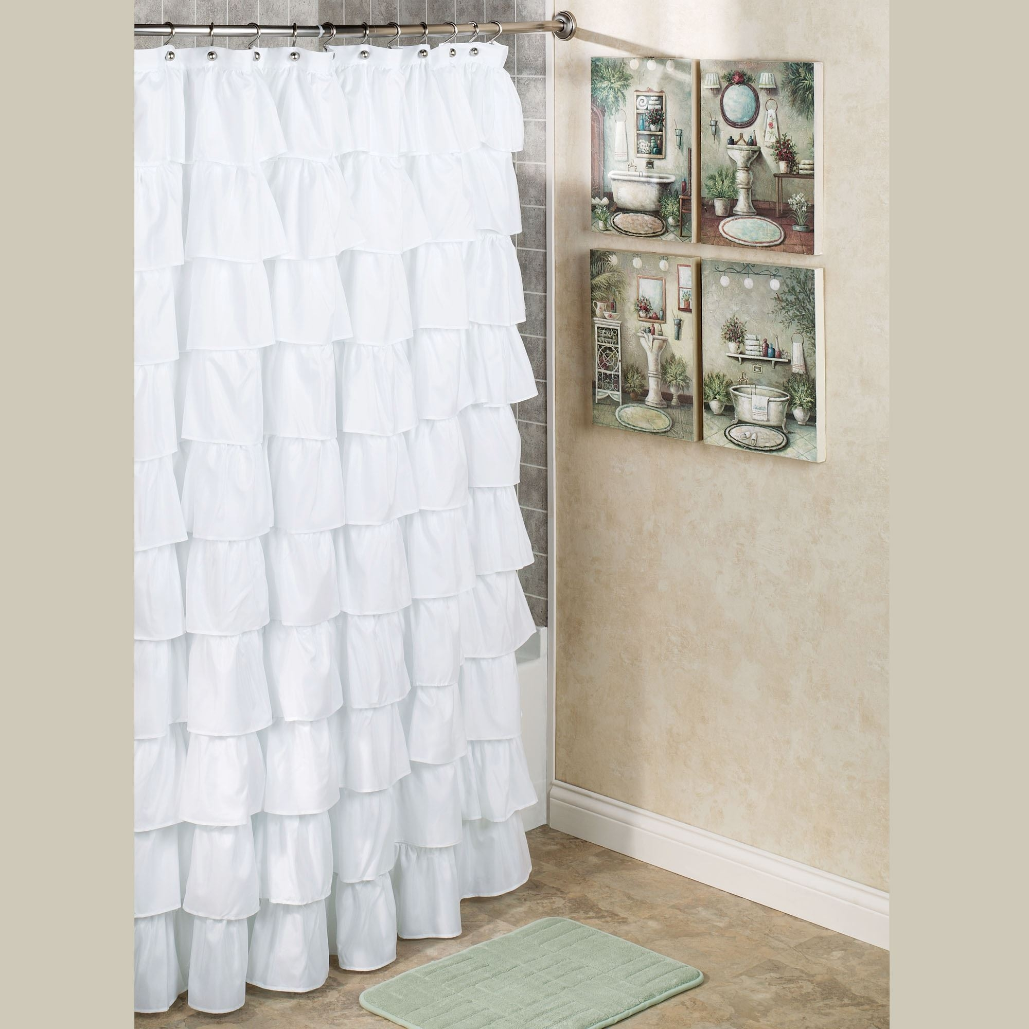 Maribella White Ruffled Shower Curtain Inside White Ruffle Curtains (View 3 of 25)