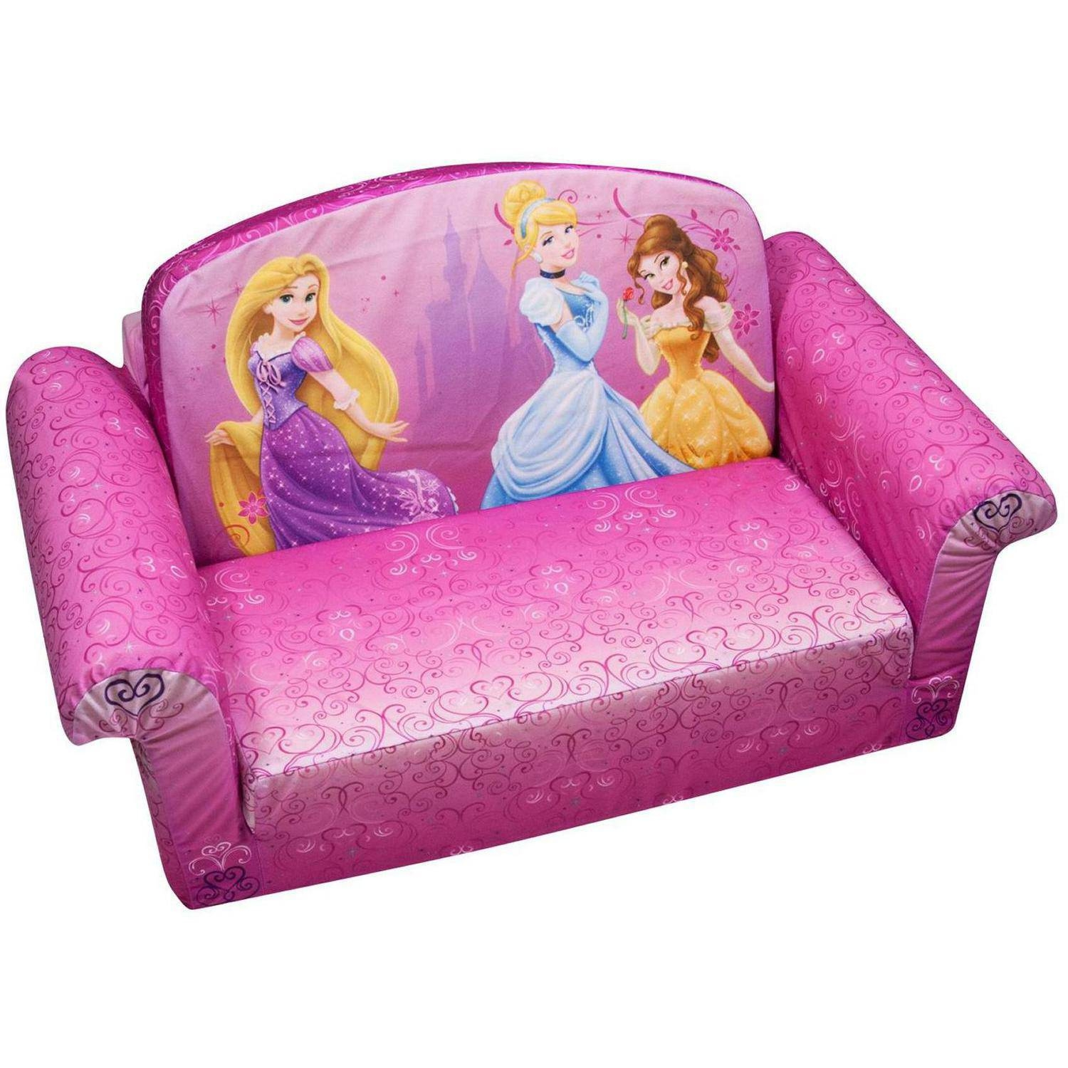 Marshmallow 2 In 1 Flip Open Sofa Disney Princess Walmart Within Disney Sofa Chairs (Image 9 of 15)