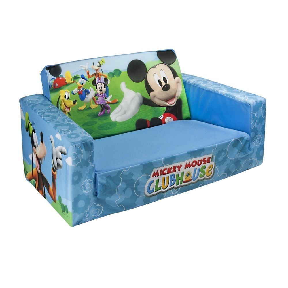 Marshmallow Flip Open Sofa Kids Couch Bed Disney Mickey Mouse Duck With Disney Sofa Chairs (View 14 of 15)