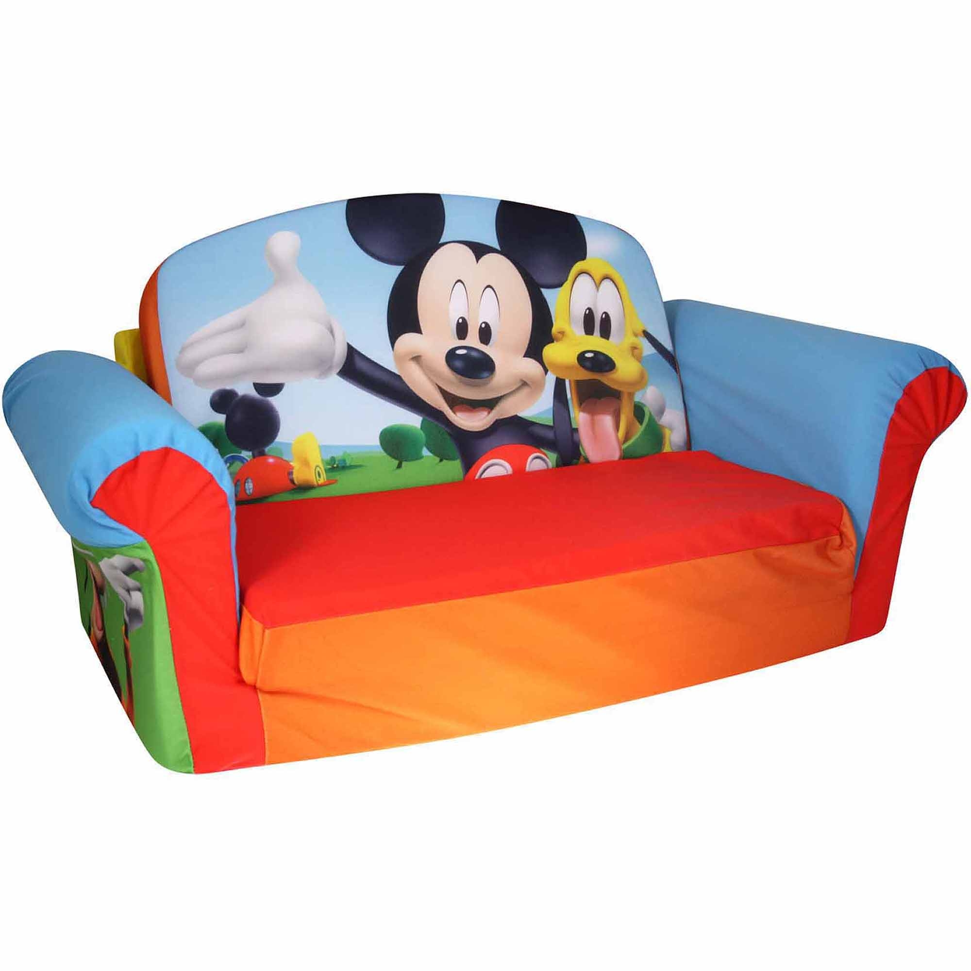 Marshmallow Furniture 2 In 1 Flip Open Sofa Mickey Mouse Club With Disney Sofa Chairs (Image 11 of 15)