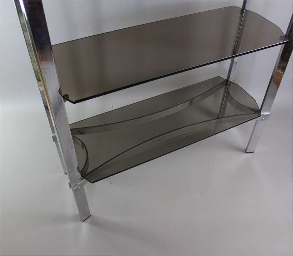Merrow Associates Chrome Shelf Unit With Four Smoked Glass Shelves Regarding Smoked Glass Shelf (Image 12 of 15)