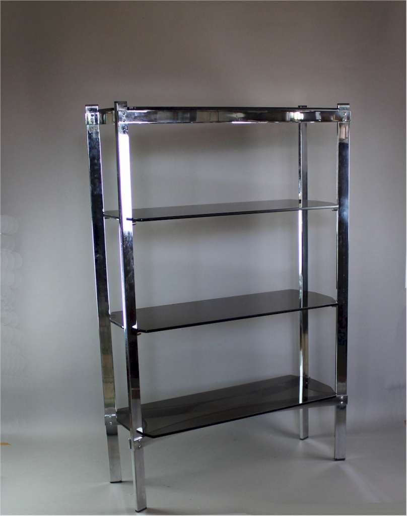 Merrow Associates Chrome Shelf Unit With Four Smoked Glass Shelves Within Smoked Glass Shelves (Image 10 of 15)