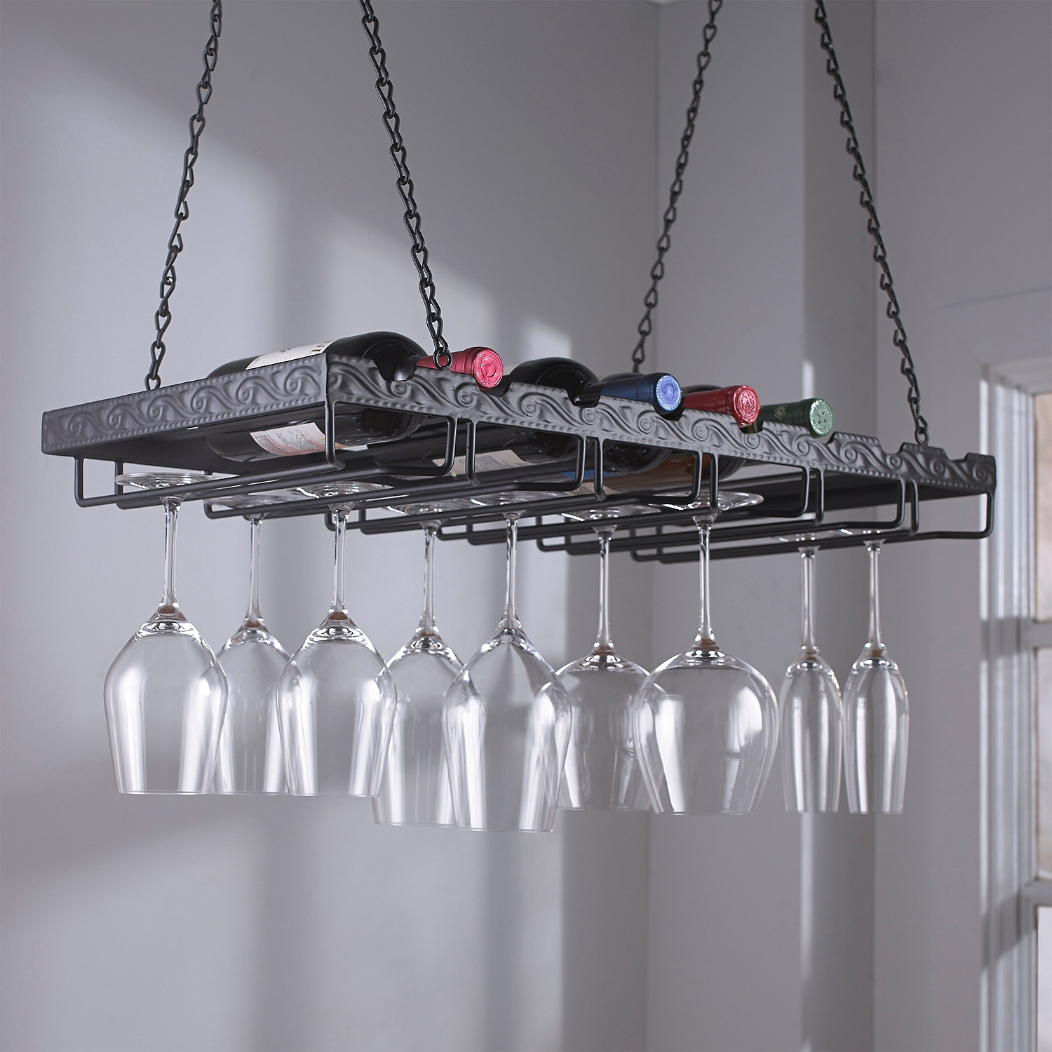 Metal Hanging Wine Glass Rack Hanging Wine Glass Rack Wine Pertaining To Hanging Glass Shelves From Ceiling (Image 11 of 15)