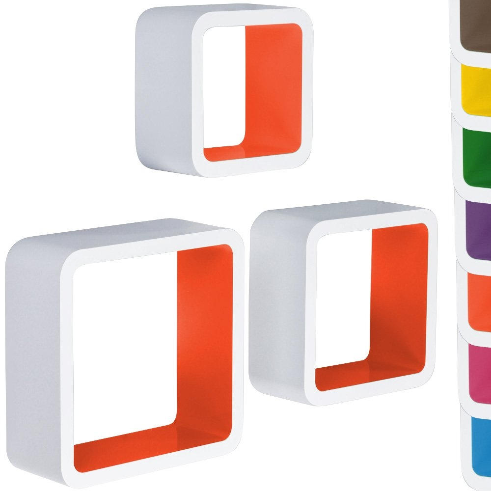 Miadomodo Hrgl04 3 Pcs Wall Shelf Set Two Coloured Whiteorange Throughout Coloured Floating Shelves (Image 10 of 15)