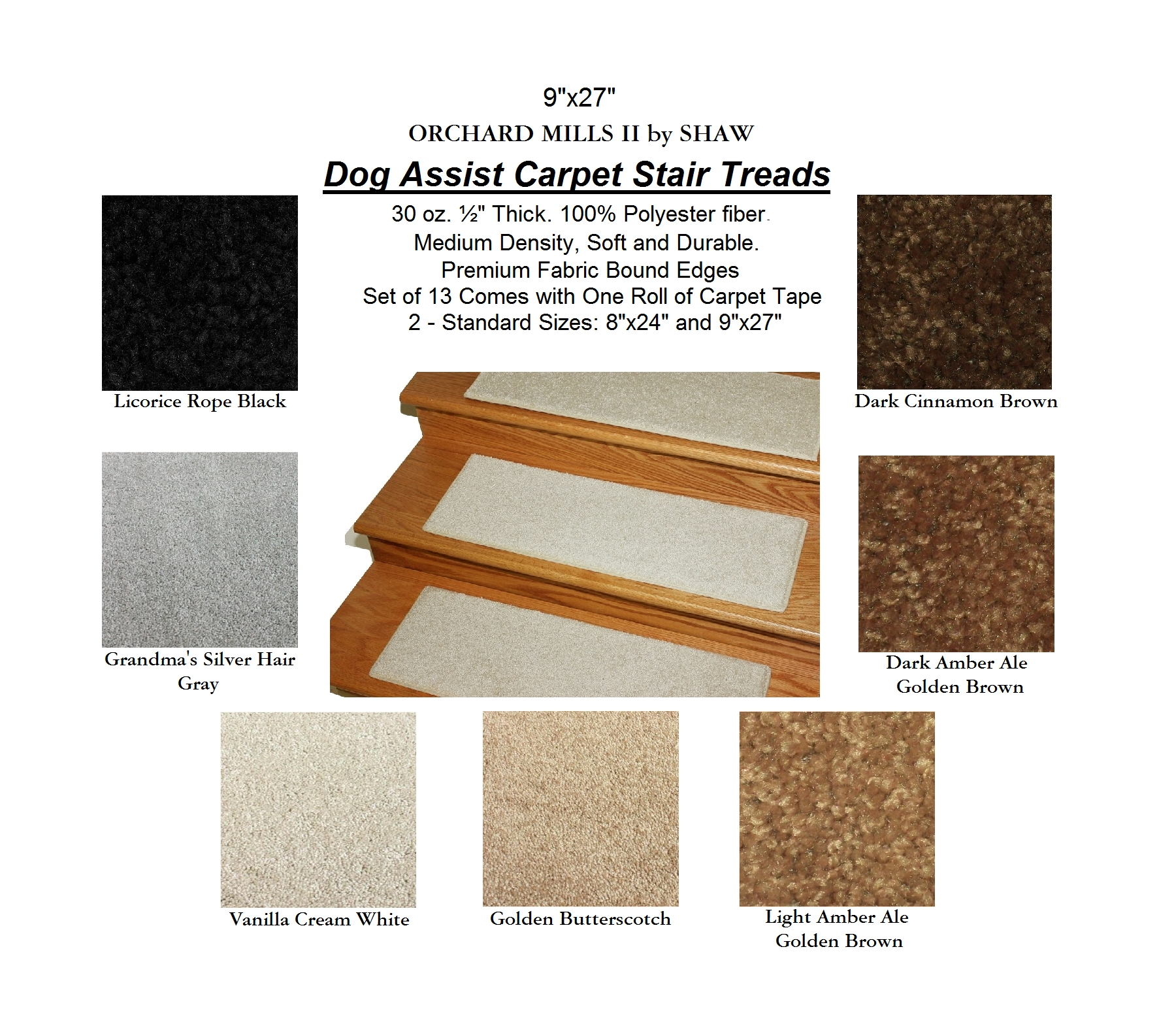 Mills Aii Dog Assist Carpet Stair Treads In Carpet Stair Treads For Dogs (Image 12 of 15)
