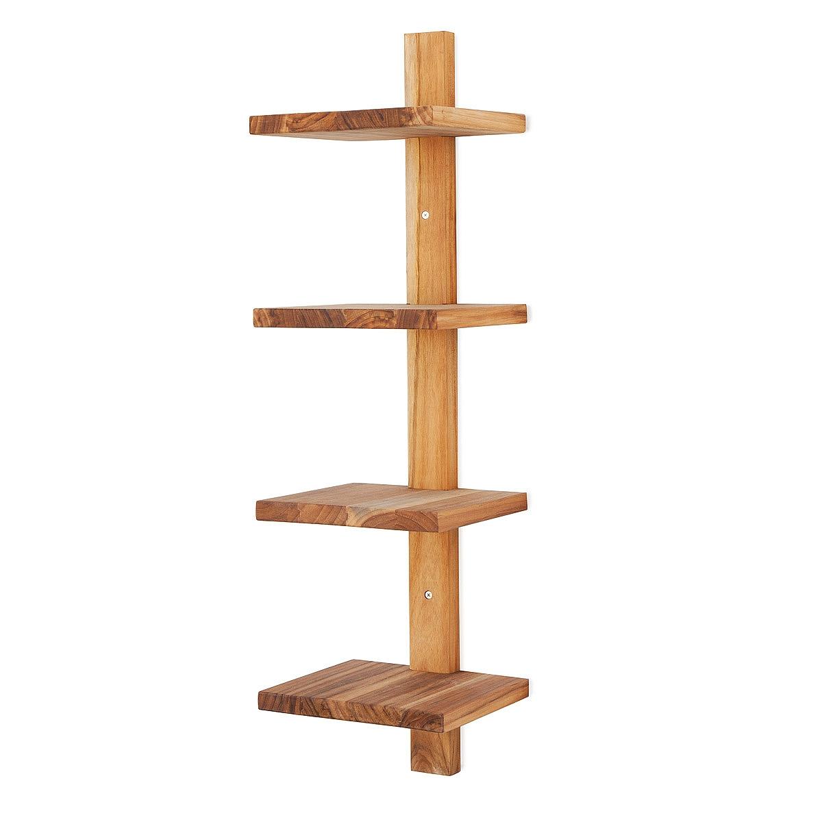 Minimalist Teak Wall Shelf Vertical Shelves Stacked Shelves For Wall Shelf (Image 6 of 15)