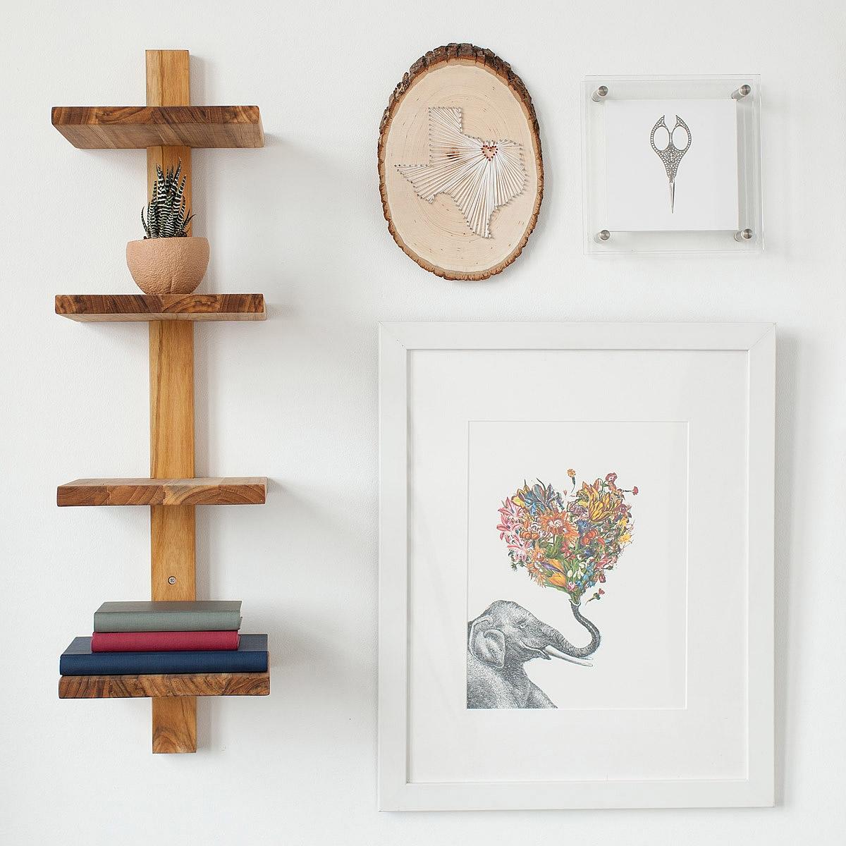 Minimalist Teak Wall Shelf Vertical Shelves Stacked Shelves Inside Wall Shelf (Image 7 of 15)