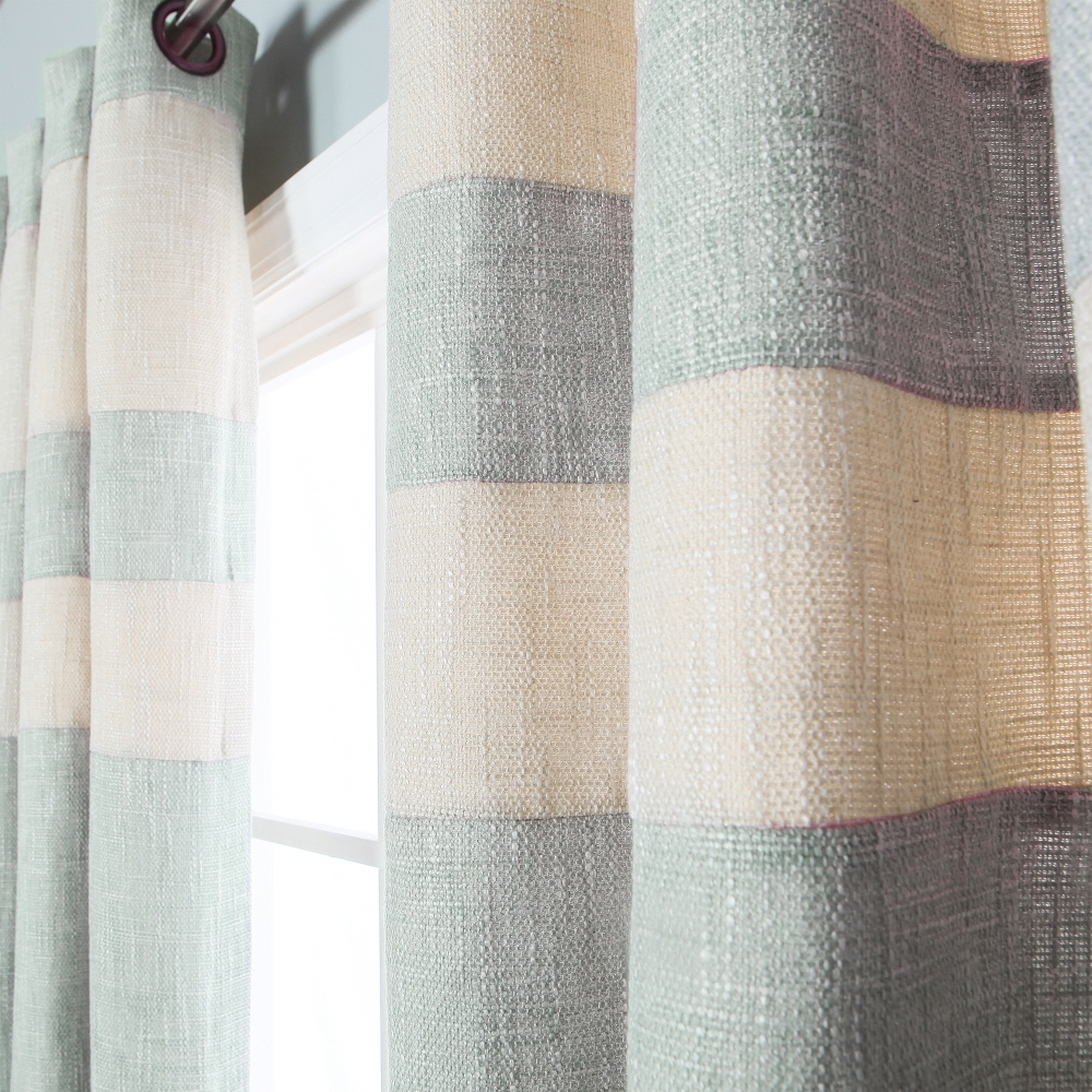 Mint Striped Heavyweight Textured Faux Linen Grommet Top Curtain For Linen Grommet Curtains (Image 14 of 25)