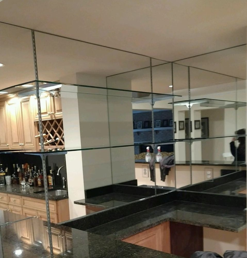 Mirrored Walls With Glass Shelves Are A Beautiful Addition To Any For Glass Shelves For Bar Area (Image 10 of 15)