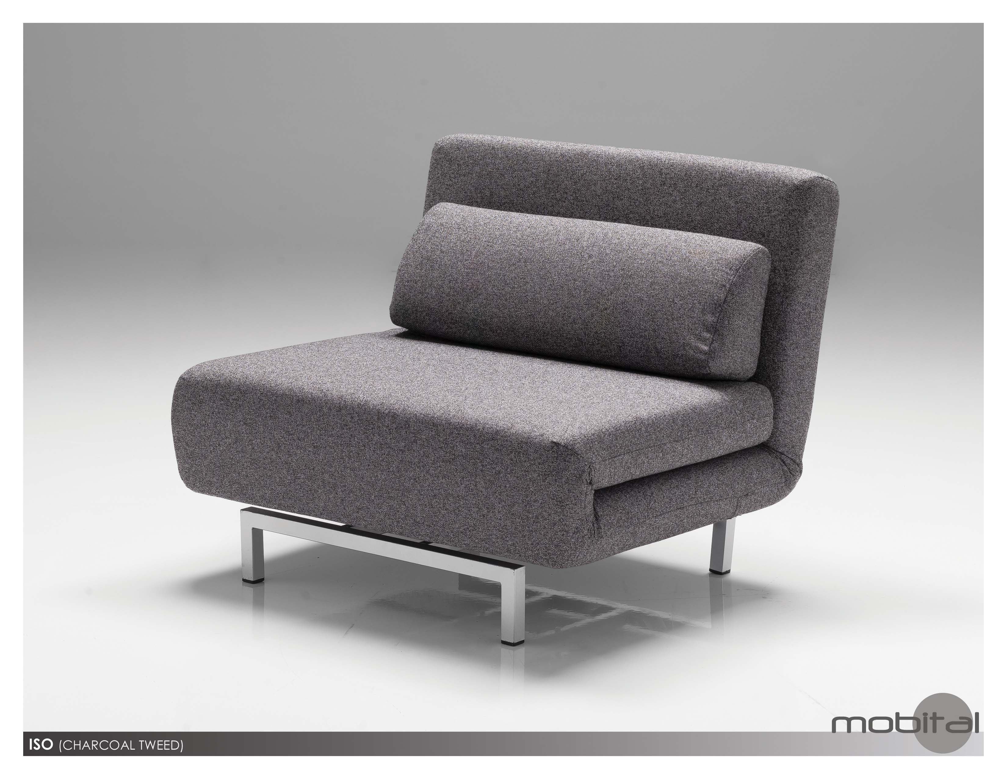 Mobital Iso Sofabed Single Modern Furnishings Throughout Single Sofa Bed Chairs (Image 5 of 15)