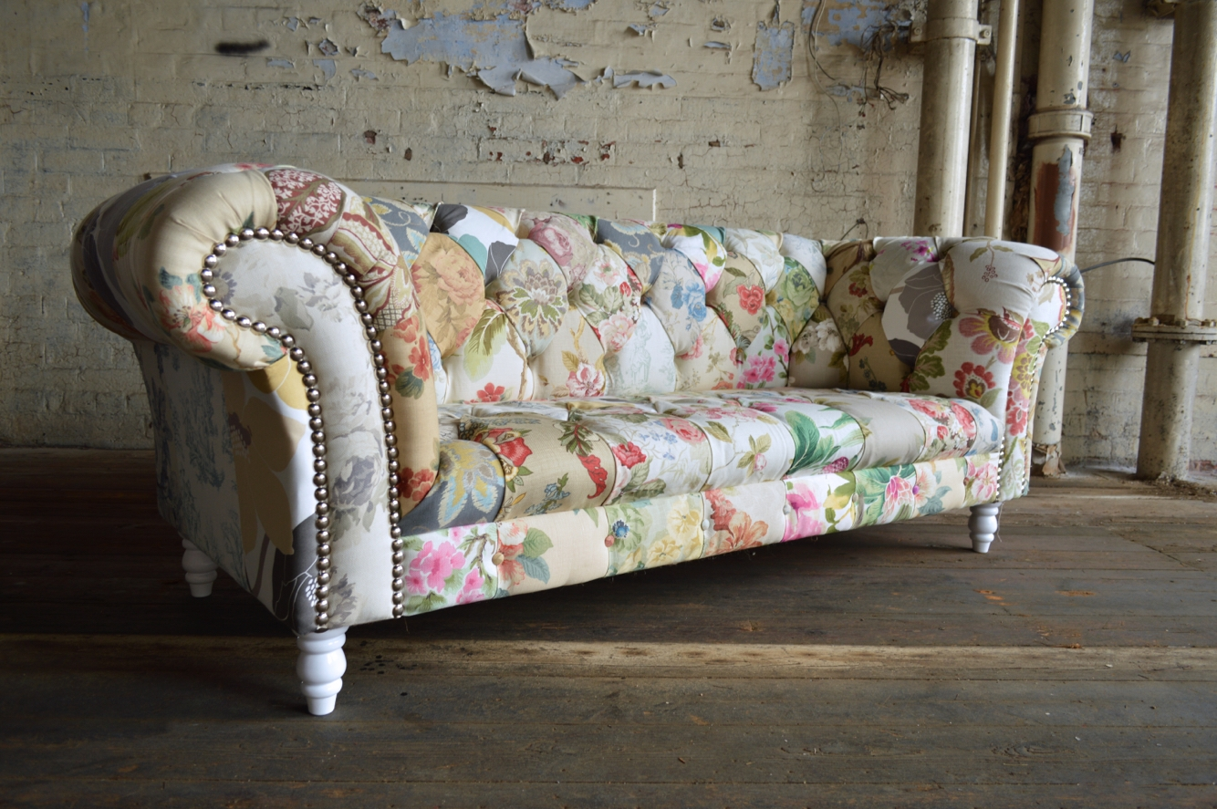 Modern British And Handmade Shab Chic Patchwork Chesterfield Throughout Chintz Fabric Sofas (Image 11 of 15)