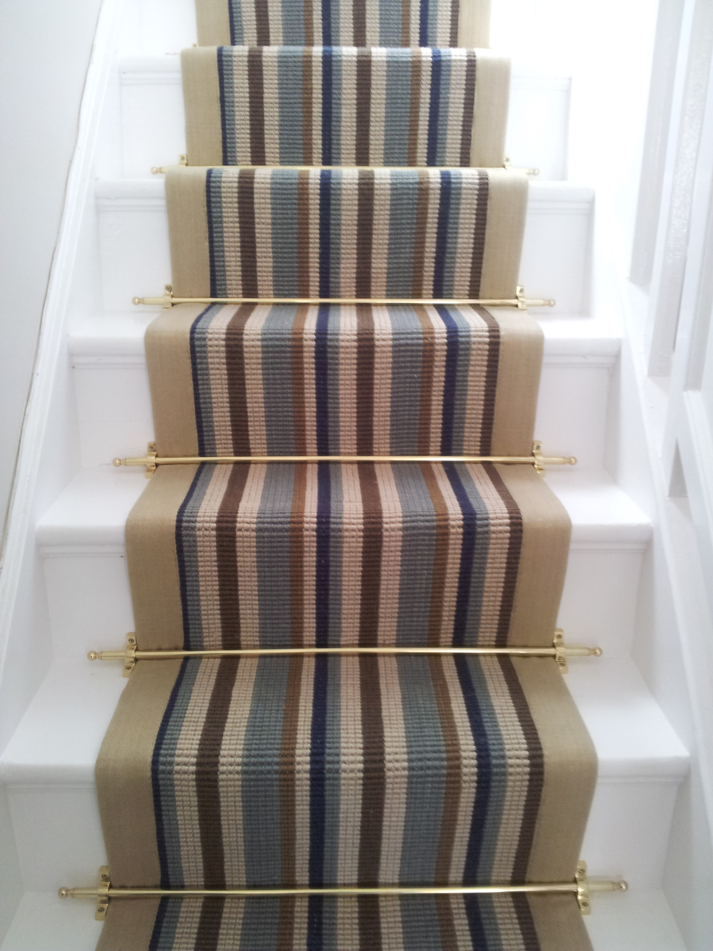 Modern Carpet Runner For Stairs Striped With Modern Brushed Brass Regarding Stair Tread Carpet Rods (Image 10 of 15)