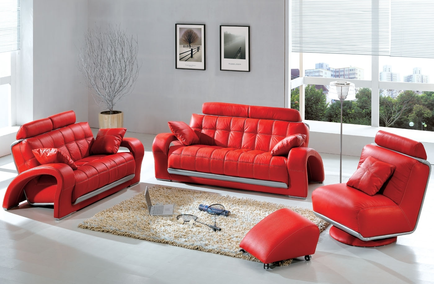 Modern Contemporary Leather Sofa Sectional Sets Funky Intended For Red Sofas And Chairs (Image 7 of 15)