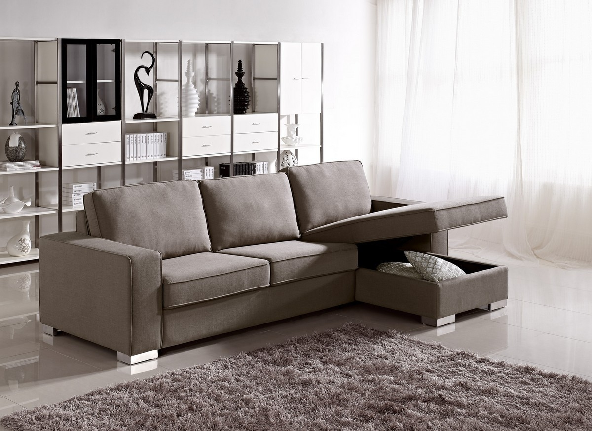 Modern Fabric Sofa Bed W Storage Pertaining To Contemporary Fabric Sofas (Image 13 of 15)