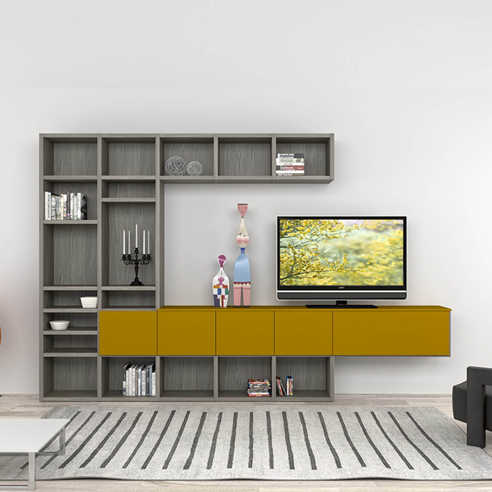 Modern Italian Tv Stand In Composition Of Grey And Mustard Colours With Tv Cabinet And Bookcase (Image 10 of 15)