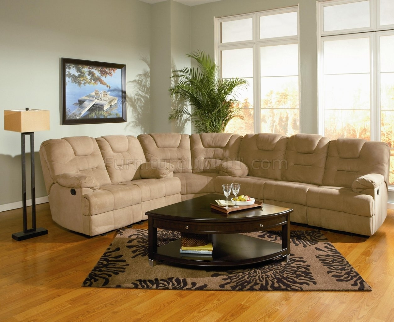 Modern Microfiber Reclining Sectional Sofa 600351 Mocha Inside Sofas With High Backs (Image 9 of 15)