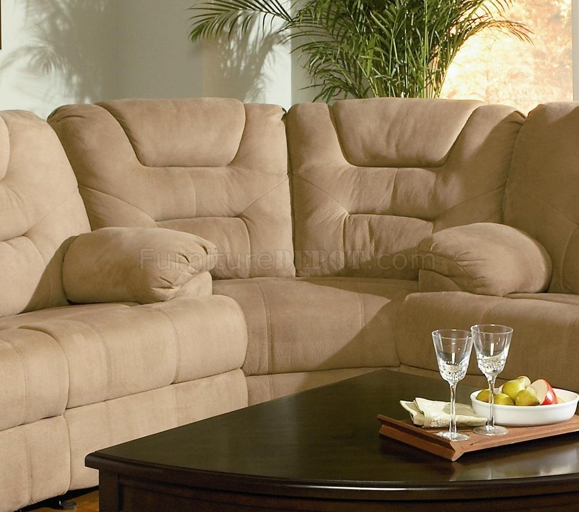Modern Microfiber Reclining Sectional Sofa 600351 Mocha Within Sofas With High Backs (Image 10 of 15)